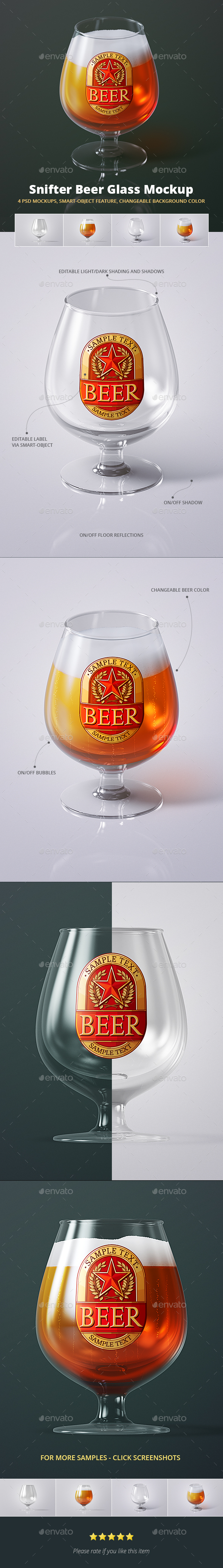 Beer Glass Mock-up - Snifter - Food and Drink Packaging