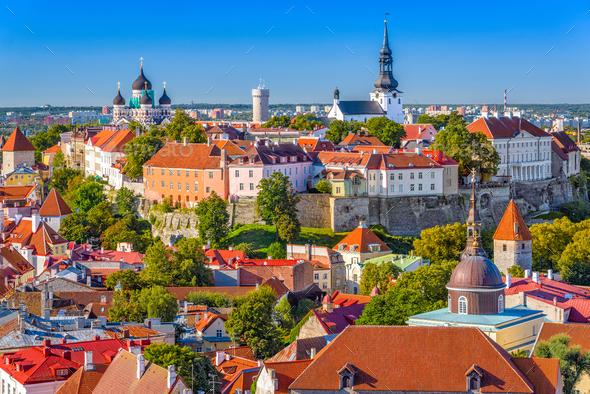 Tallinn, Estonia Skyline - Stock Photo - Images