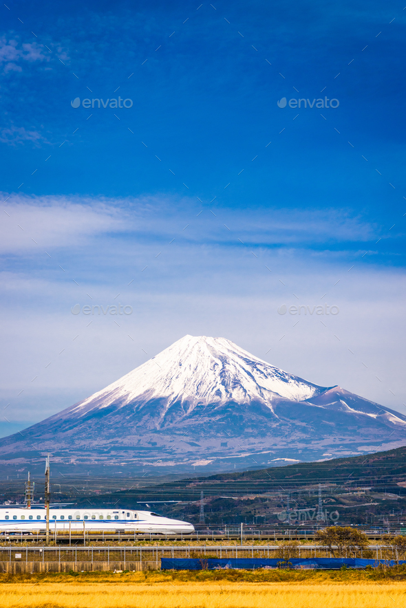 Train and Fuji - Stock Photo - Images
