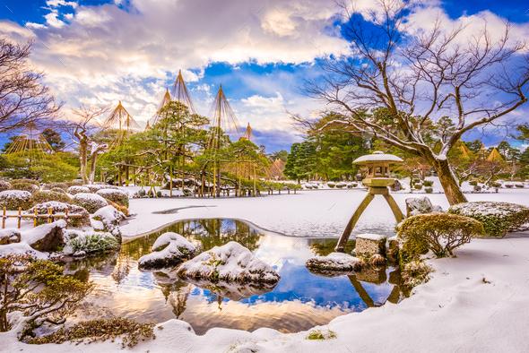 Kanazawa, Japan Winter Gardens - Stock Photo - Images