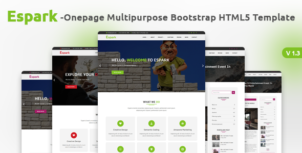 Espark Onepage Multipurpose Bootstrap HTML5 Template - Corporate Site Templates