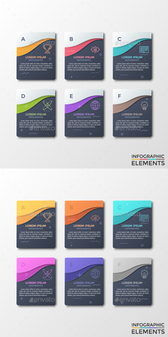 Modern Dark Infographic Stickers (2 Styles) - Infographics
