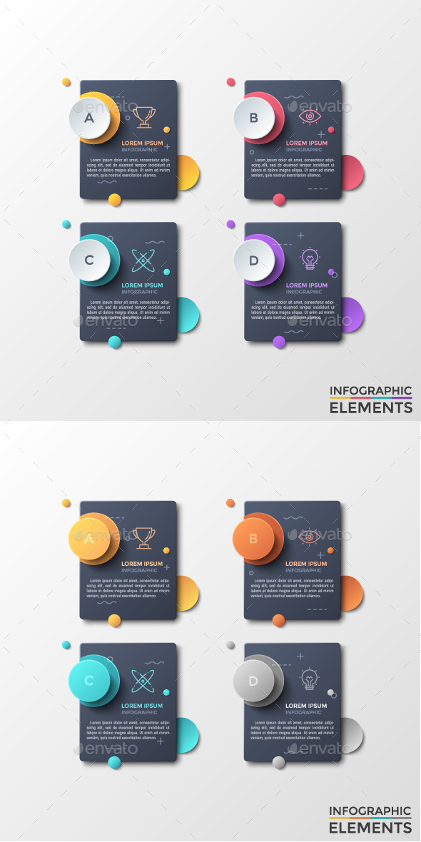 Abstract Infographic Dark Stickers (2 Styles) - Infographics