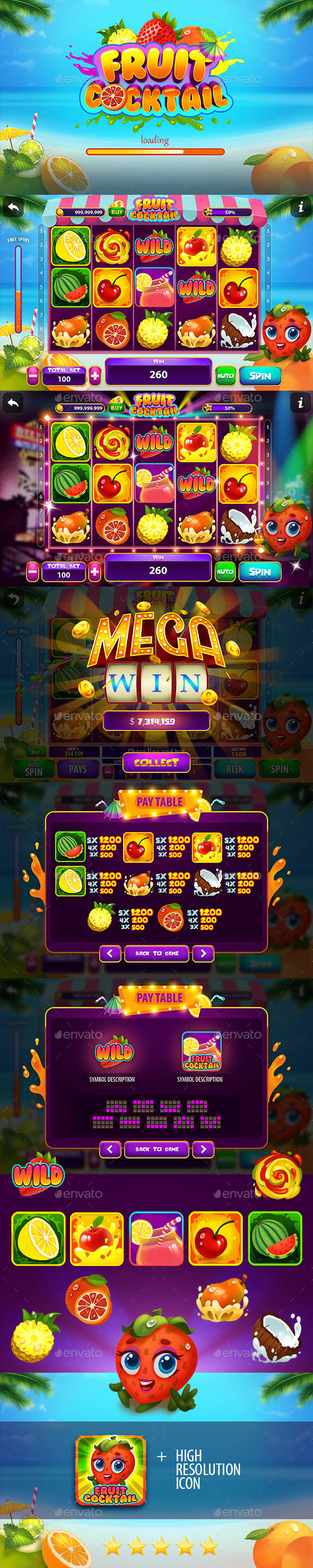 Fruit Cocktail Slot Game Kit - Game Kits Game Assets