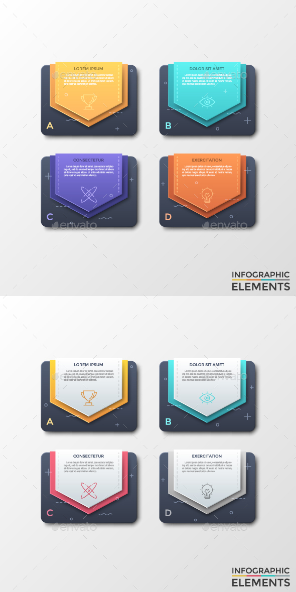 Modern Infographic Stickers Template (2 Styles) - Infographics