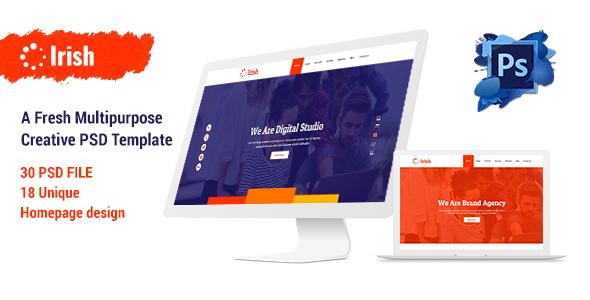 Irish - A Fresh Multipurpose Creative PSD Template - Creative PSD Templates