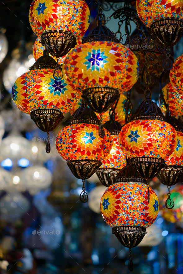 Traditional turkish mosaic lanterns - Stock Photo - Images