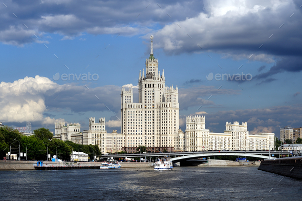 Moscow skyscraper, view from Moscow-river - Stock Photo - Images