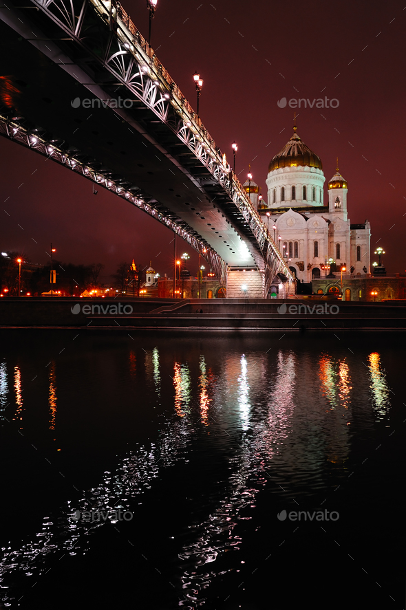 Cathedral of Christ the Savior by night, Moscow, Russia - Stock Photo - Images