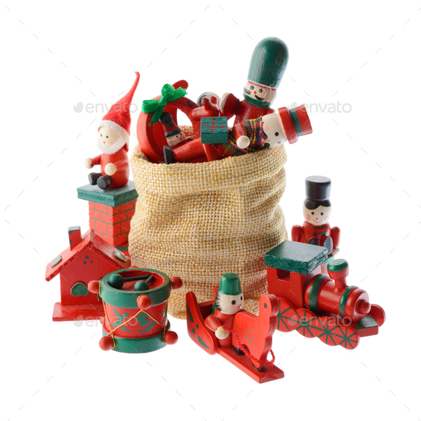 Lot of multicolored Christmas decorations in a Santa Claus bag - Stock Photo - Images
