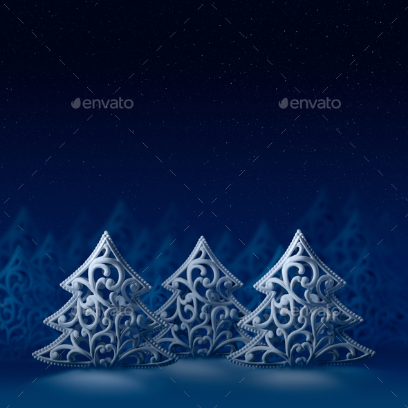 Three white Christmas trees - Stock Photo - Images