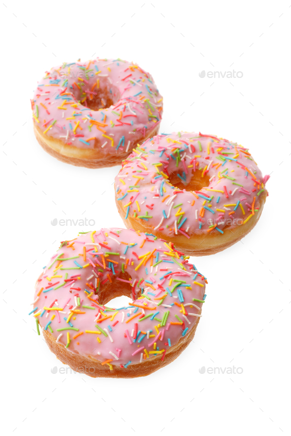 Group of pink donuts - Stock Photo - Images