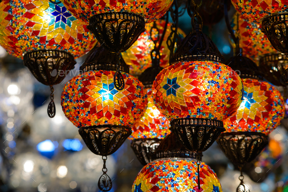 Traditional turkish mosaic lanterns - Stock Photo - Images