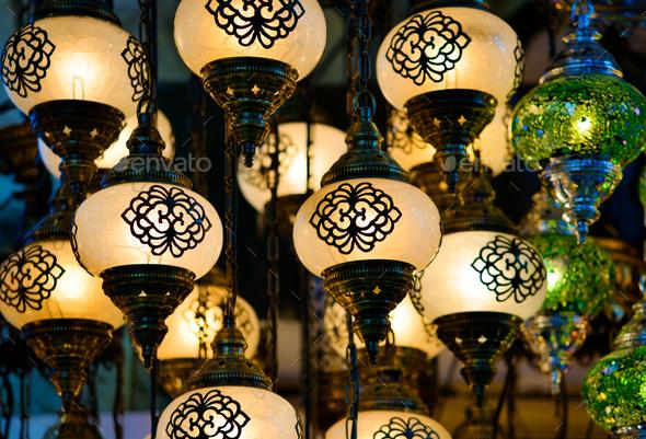 Traditional turkish glass lanterns - Stock Photo - Images