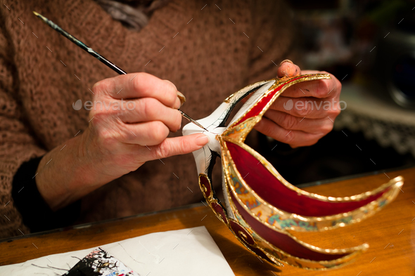 Making of venice carnival mask - Stock Photo - Images