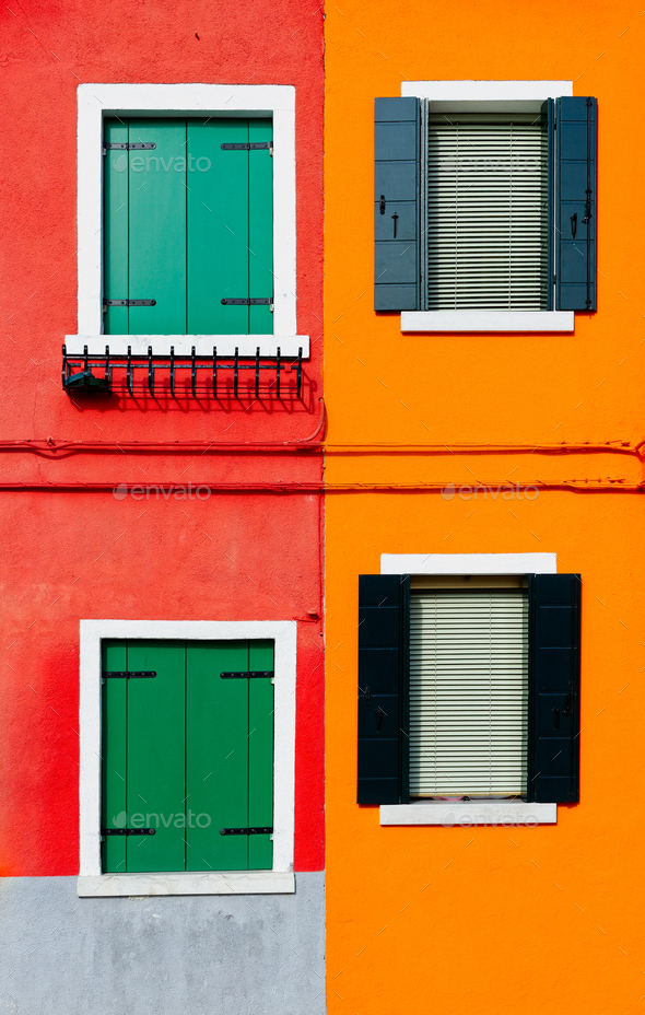 Burano details, windows on red and orange walls - Stock Photo - Images