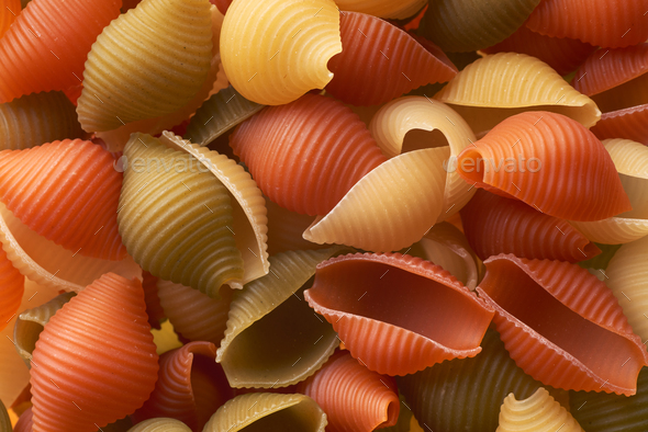 Red, white and green macaroni - Stock Photo - Images