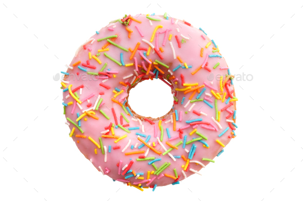 Single pink donut - Stock Photo - Images