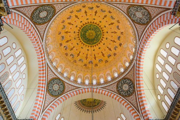 Suleymaniye Mosque interior detail - Stock Photo - Images