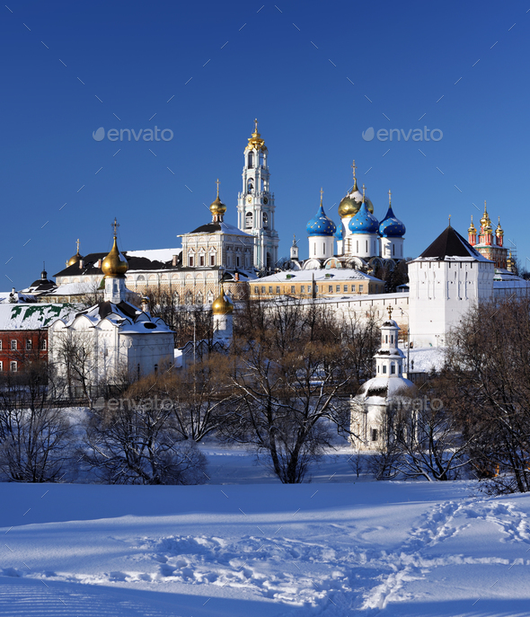 Sergiev Posad monastery at winter - Stock Photo - Images