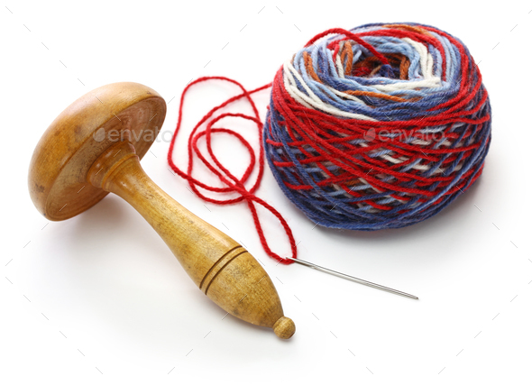 darning mushroom, yarn ball and needle - Stock Photo - Images
