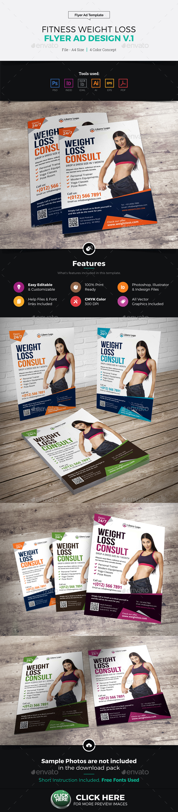 Fitness Weight Loss A5 Flyer Design - Corporate Flyers