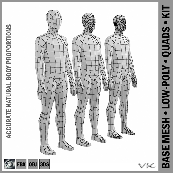 Male Low Poly Base Mesh Rest Pose - 3DOcean Item for Sale