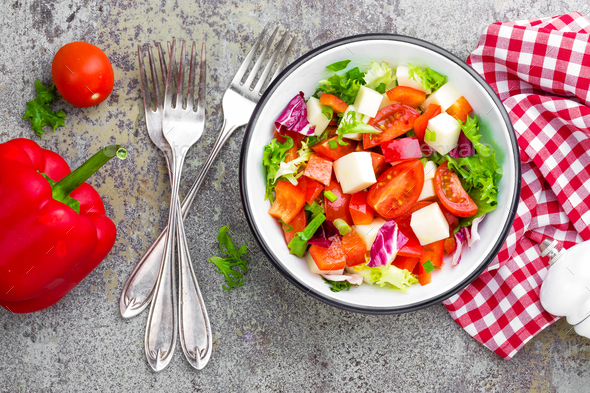 Vegetable dish, salad with mozzarella - Stock Photo - Images