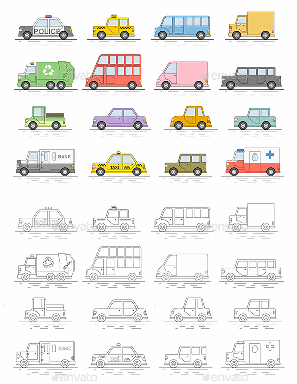 Car icons set. Flat colors style. Vector illustration - Travel Conceptual