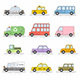 Car icons set. Flat colors style. Vector illustration - GraphicRiver Item for Sale