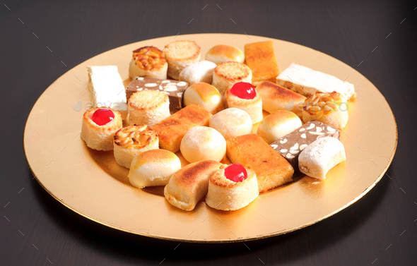 golden tray with marzipan Christmas - Stock Photo - Images