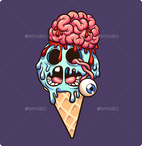 Zombie Ice Cream Cone - Food Objects