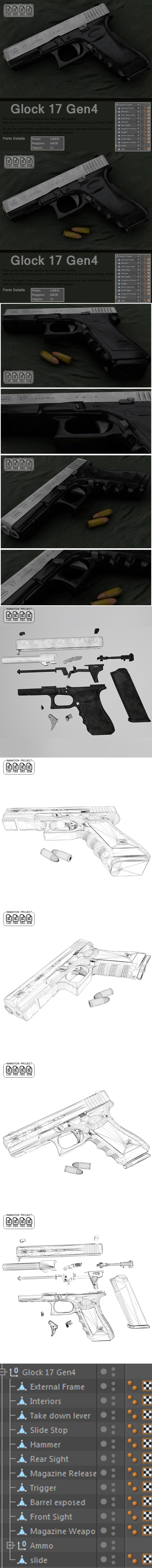 Glock 17 Gen 4 [ 3D MODEL ] Real - 3DOcean Item for Sale