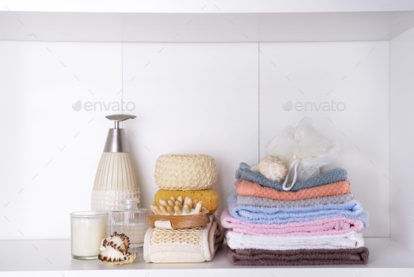 Spa and wellness setting with towels. Dayspa nature products - Stock Photo - Images