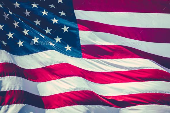 Retro Stars And Stripes Flag - Stock Photo - Images