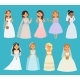 Wedding Brides Vector Girl Characters White Dress