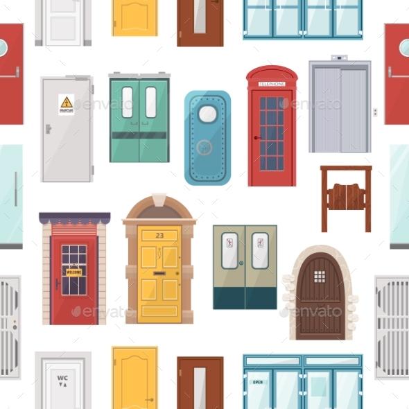 Doors Vector Set House Doorway Front Entrancde - Objects Vectors