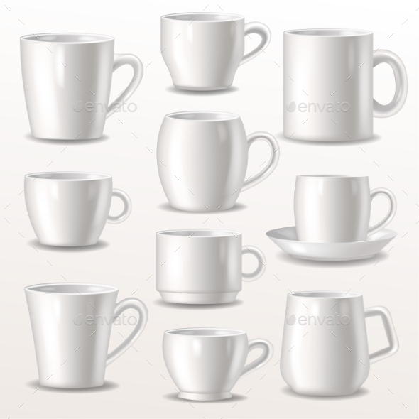 Cup Vector Empty Mugs for Coffee or Tea - Miscellaneous Vectors