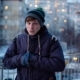 Young Man Waiting Someone and Having Cold Outside on Winter - VideoHive Item for Sale
