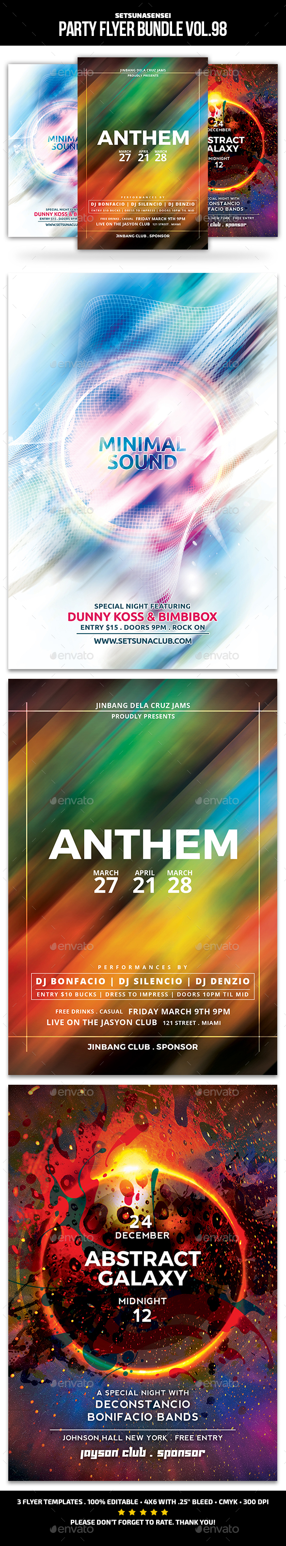Party Flyer Bundle Vol.98 - Events Flyers