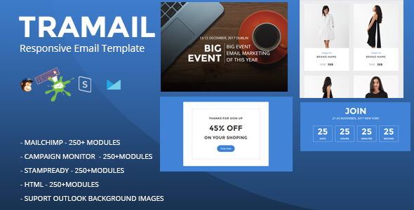 TRAMAIL - Responsive Email Template (250+ Modules) + Stampready Builder - Newsletters Email Templates