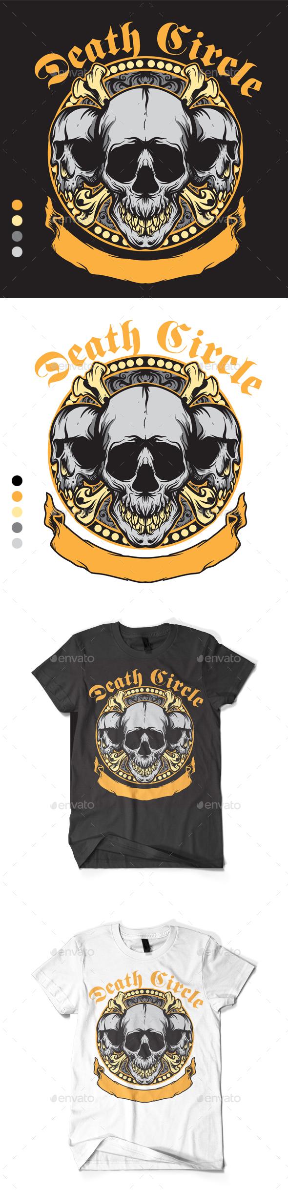 Skull Death Circle Design - T-Shirts