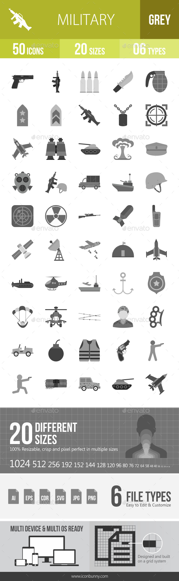 50 Military Grey Scale Icons - Icons