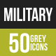 50 Military Grey Scale Icons