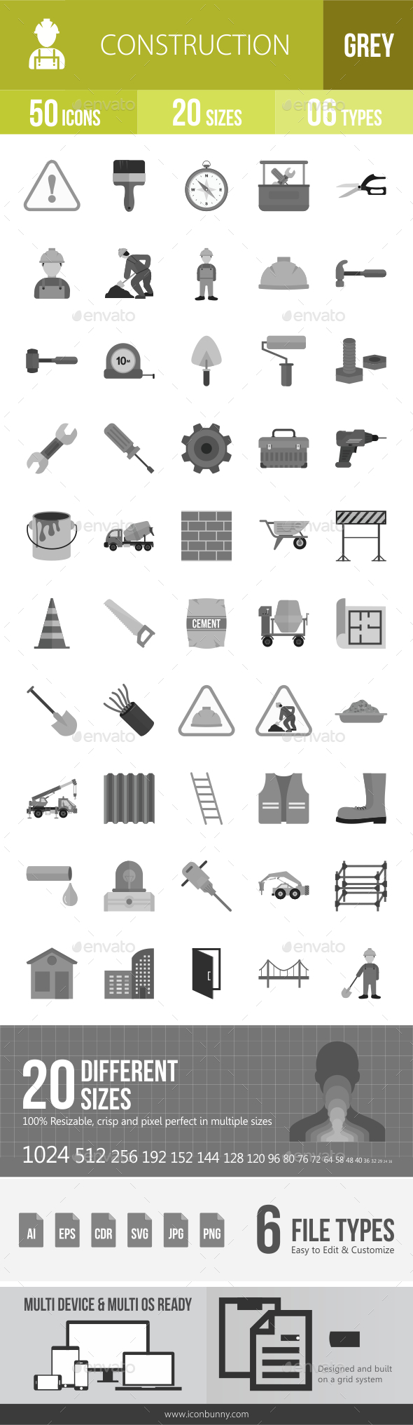 50 Construction Grey Scale Icons - Icons