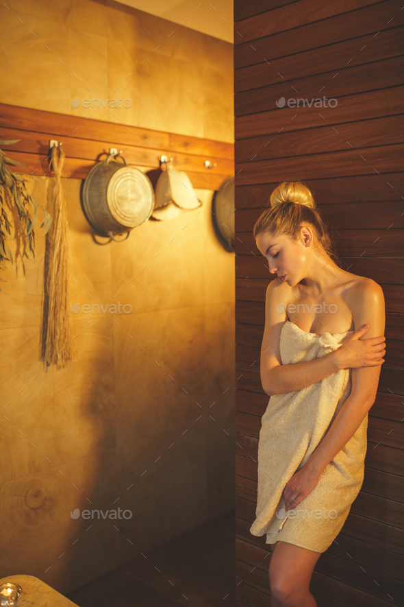 Woman in sauna - Stock Photo - Images
