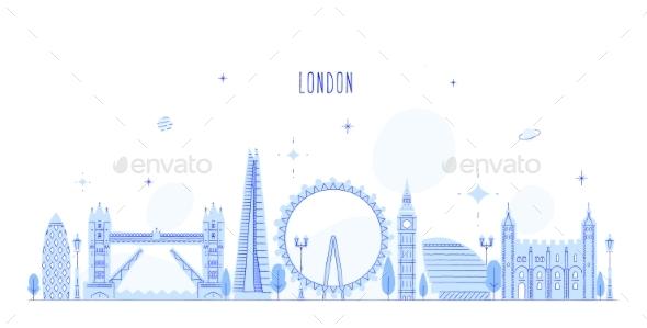 London Skyline England UK Vector City Buildings - Buildings Objects