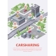 Isometric Carsharing Map Vector Illustration 3d