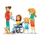 Family and Handicapped Child Vector Illustration