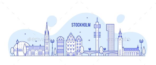 Stockholm Skyline Sweden Vector City Buildings - Buildings Objects